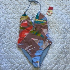 Junior small one piece bathing suit reversible NWT